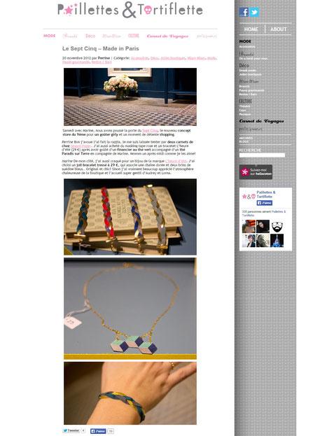 Le bracelet Ginger Rockers est sur le blog Paillettes&Tartiflette, novembre 2012