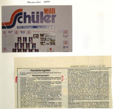 Erstes Logo und Eintragung ins Handelregister