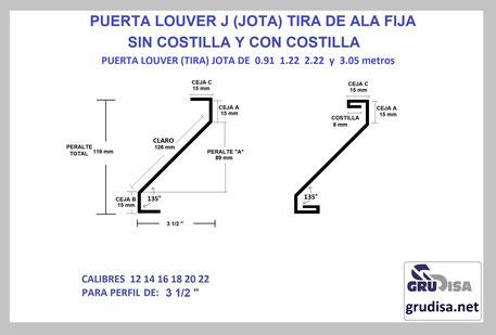 """PUERTA LOUVER (TIRA) J JOTA PARA PERFIL DE 3 1/2"""""""