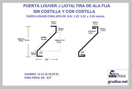 """PUERTA LOUVER (TIRA) J JOTA PARA PERFIL DE 3/4"""""""