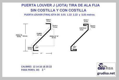 """PUERTA LOUVER (TIRA) J JOTA PARA PERFIL DE 3"""""""