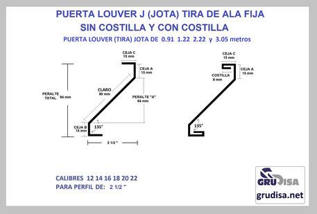 """PUERTA LOUVER (TIRA) J JOTA PARA PERFIL DE 2 1/2"""""""