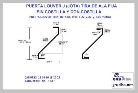 """PUERTA LOUVER (TIRA) J JOTA PARA PERFIL DE 1 1/2"""""""