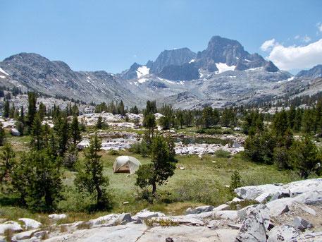 Unser Zelt auf der Halbinsel in Garnet Lake (Top Spot)