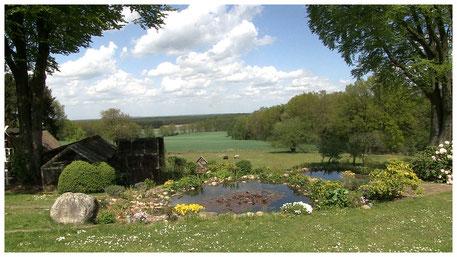 Höpen Idyll Blick von der Terrasse in die Landschaft