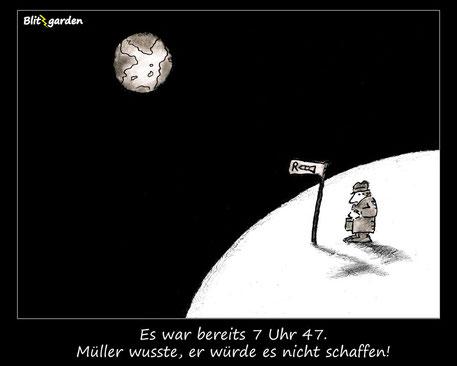 Blitzgarden Cartoon für Menschenkenner-Mkt. Oli Kock: Arbeitnehmer an Bushaltestelle auf dem Mond