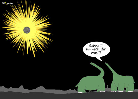 Menschenkenner-Mkt. Nick Blitzgarden Cartoon Wünschen Dinosaurier Asteroid
