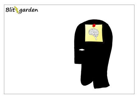 Blitzgarden Cartoon für Menschenkenner-Mkt. Oli Kock: Gehirn im Kopf - auf Post-It