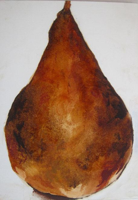 "Michelangelo's Pear, 2009, oil/claybord, 5x7"""