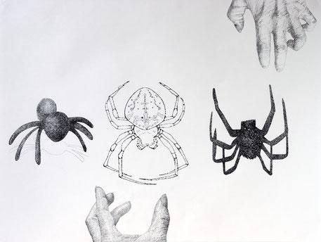 Hände und Spinnen, 2005. (Tuschestifte auf Papier. 52 x 56 cm)