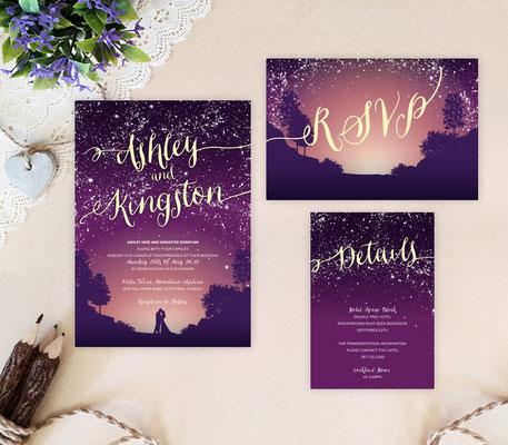 romantic wedding invitations printed