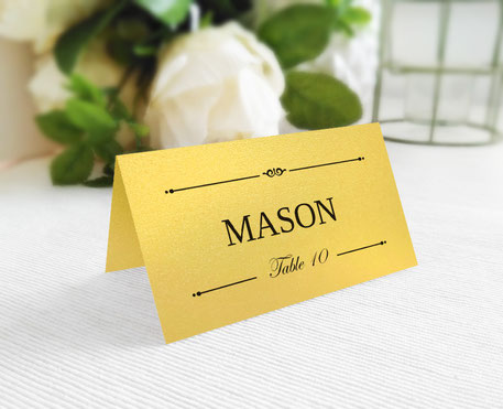 Printed Wedding Place Cards folded