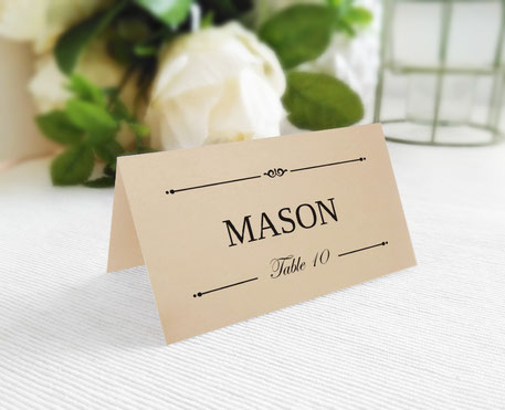Table Name Place Cards folded
