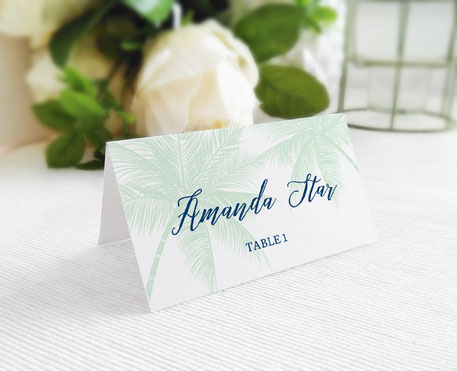 Beach Wedding Place Cards personalized