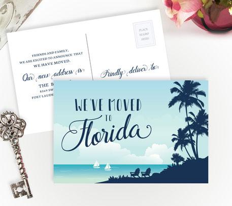 Florida Moving Announcement Postcards