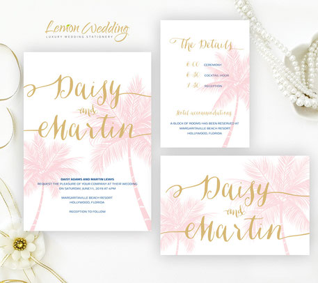 tropical wedding invitations set