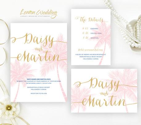 tropical wedding invitations set