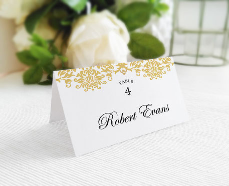 Gold Wedding Name Place Cards