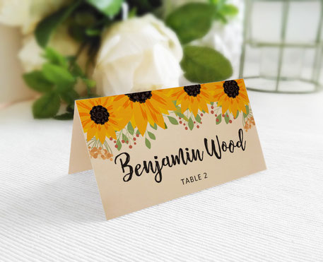 Sunflower Wedding Place Cards