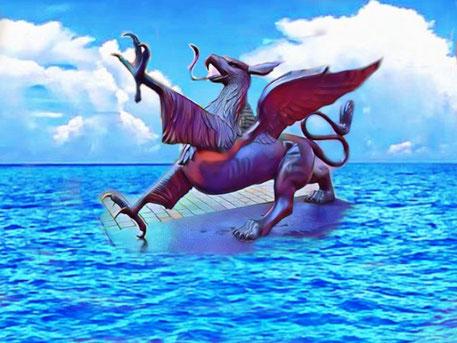 Ein Vogel greif erhebt sich aus den Fluten des Meeres. Das Thema lautet: Fantasie  und Fantasy - worin liegt der Unterschied?