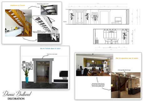 Verrière escalier séjour contemporain Danaé Balland décoration