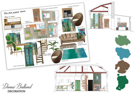 Plan coupes couleurs appartement exotique Danaé Balland décoration