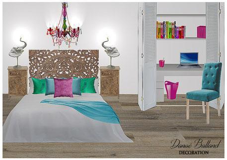 Chambre appartement exotique Danaé Balland décoration