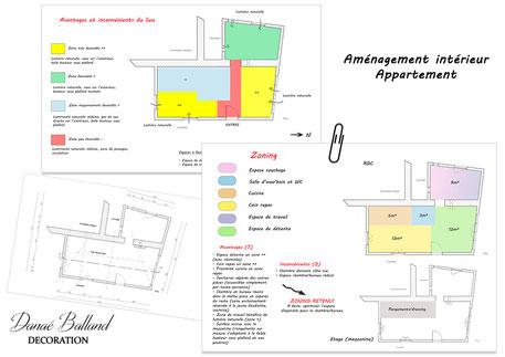 Plans aménagement intérieur appartement Danaé Balland