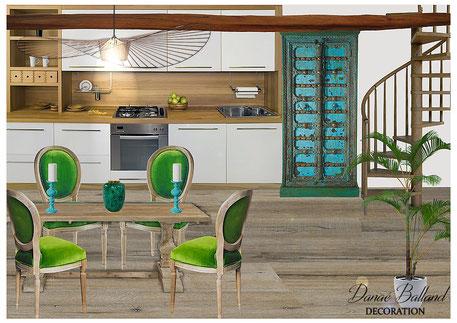 Cuisine appartement exotique Danaé Balland décoration