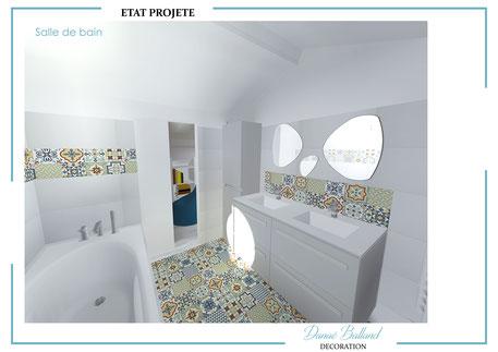 Travaux salle de bain moderne carreaux ciment enfants