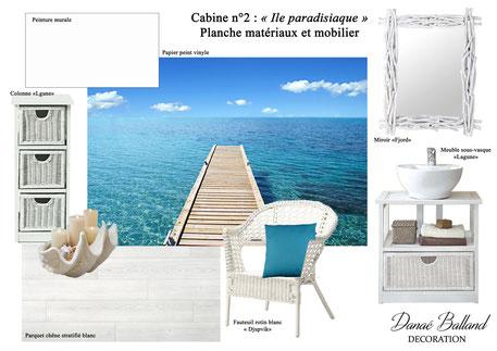 Planche cabine paradisiaque Danaé Balland décoration