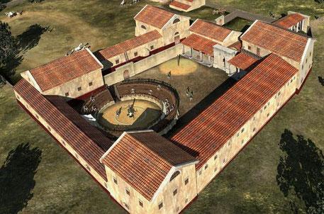 Une reconstitution de l'école de gladiateur à Carnuntum (LBI ArchPro)