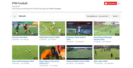 Highlight-Videos von Talenten auf meinem YouTube-Account