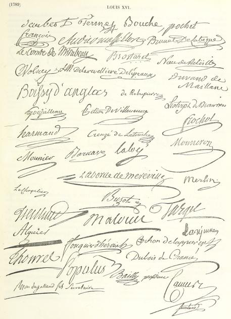 berühmte Unterschriften eines Sammelblattes