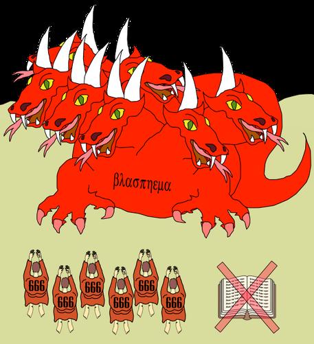La bête à 7 têtes et 10 cornes représentant le pouvoir de Satan sur la terre et donc le rejet de Dieu affiche clairement des blasphèmes, des noms blasphématoires; sur ses têtes en Apocalypse 13 et sur l'ensemble de son corps en Apocalypse 17.