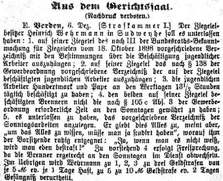 Syker Zeitung 9. Dez. 1902/Repro: Hahn/Ratjen/Riehn