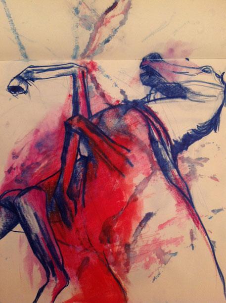 Aquarell, Zeichnung, Pferd