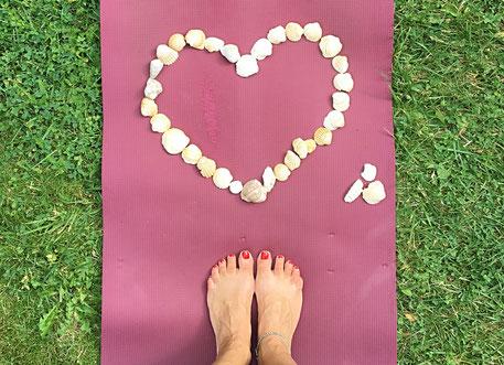 Yogamatte mit Herz