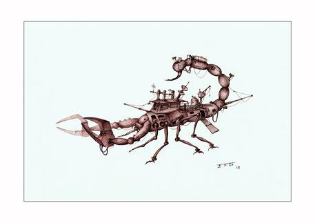 fantasy machines, fantasy art, fantasy drawing, drawings by Spanish artists, ballpoint pen art, ballpoint pen drawings, scorpions, scorpion drawings