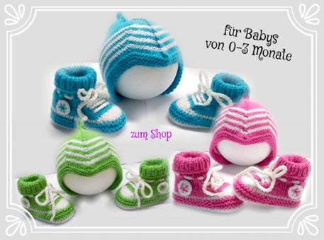 Baby Turnschuhe und Babymütze in 3 Farben handgestrickt