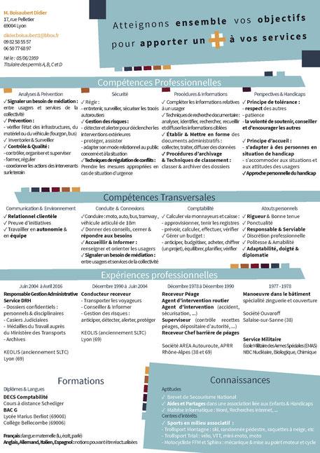 CV polyvalent personnalisé créé par Cloé Perrotin sur les thèmes de transports en commun, sécurité et administratif