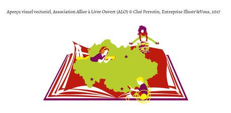Aperçu du visuel vectoriel créé par la graphiste Cloé Perrotin pour l'association littéraire Allier à Livre Ouvert de l'Allier