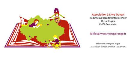 Signature de mails réalisée par la graphiste Cloé Perrotin pour l'association littéraire Allier à Livre Ouvert