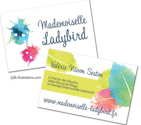 logo, aquarelle, coccinelle, ladybird, carte de visite, ambiance graphique, ligne graphique, charte graphique, petite entreprise