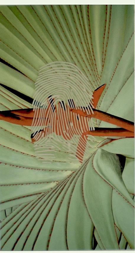 Fingerabdruck-Porträt einer Unbekannten, Erraten Sie die Porträtierte, Künstler Michael Franck, Schminke auf Leinwand, 200 x 110 cm
