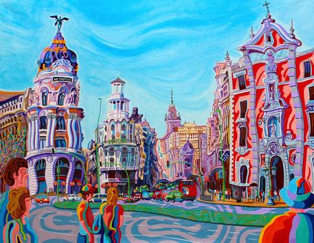 GRAN VIA (MADRID).Huile sur toile. 114 x146 x 3,5 cm.