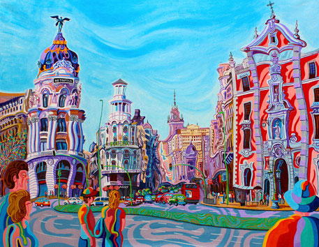 GRAN VIA (MADRID).Oil on canvas. 114 x146 x 3,5 cm.