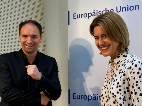 Claudia Gamon und Dietmar Pichler im Haus der Europäischen Union in Wien