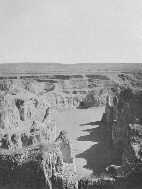 Ravins dans le lœss. Houang-tou-chai (Chan-si). Vue d'un bassin lœssique ; Formes caractéristiques dans le lœss stratifié : crêtes étroites, pinacles, ponts naturels. Au loin, montagnes calcaires, limitant le bassin.