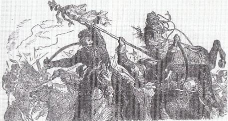 Zeichung Husar Timm erobert Feldzeichen während der Befreiungskriege